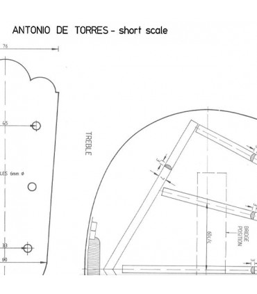 Antonio de Torres guitar plan Short Scale